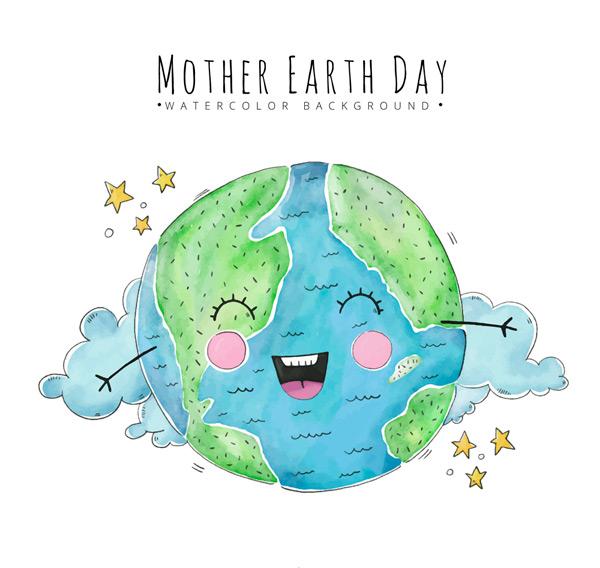 卡通矢量插画所需点数: 0 点 关键词: 可爱彩绘笑脸地球矢量素材