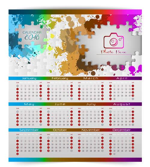 年历日历矢量所需点数: 0 点 关键词: 炫彩拼图元素2018日历表矢量