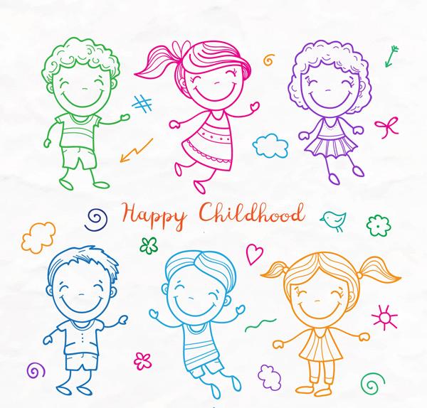 女孩,童年,快乐,花卉,云朵,爱心,蝴蝶结,鸟,孩子,儿童,彩绘,矢量图,ai