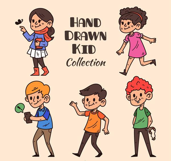 5款彩绘动感儿童矢量素材,男孩,女孩,人物,彩绘,动感,儿童,矢量图,ai