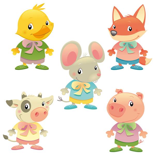 0 点 关键词: 5款可爱卡通动物矢量素材,鸭子,老鼠,奶牛,猪,狐狸,衣服