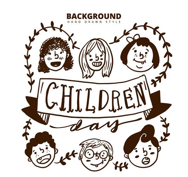 叶子,男孩,女孩,人物,条幅,手绘,头像,儿童,矢量图,ai格式 下载文件