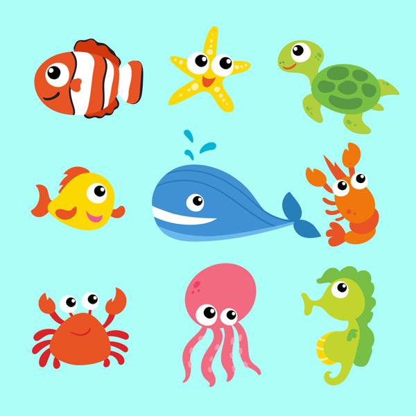 0 点 关键词: 9款卡通海洋动物矢量素材,小丑鱼,海星,海龟,鱼,鲸鱼