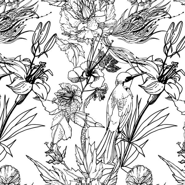 0 点 关键词: 黑白手绘花鸟设计矢量素材,手绘,花卉,鸟,矢量图,eps