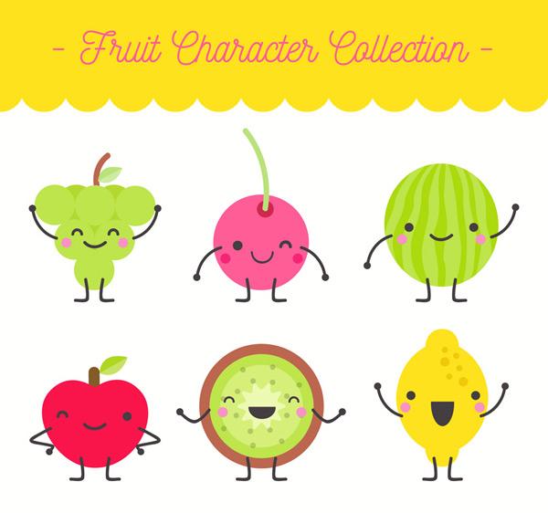 6款可爱笑脸表情水果矢量素材,葡萄,苹果,西瓜,樱桃,猕猴桃,柠檬