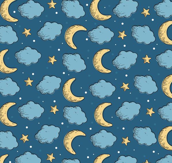云朵和月亮背景
