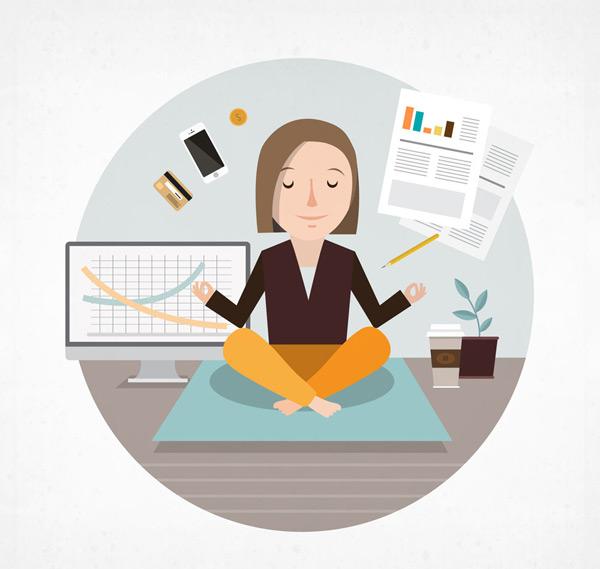 练瑜伽的商务女子