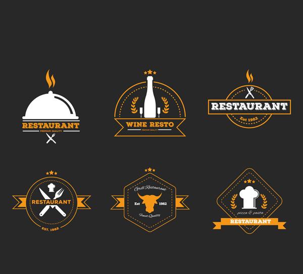 时尚餐馆标志矢量