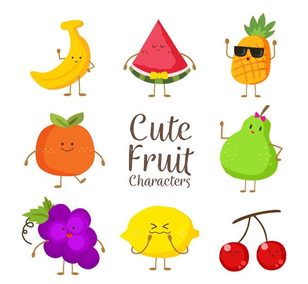矢量卡通角色所需点数: 0 点 关键词: 8款可爱彩色水果矢量素材,香蕉