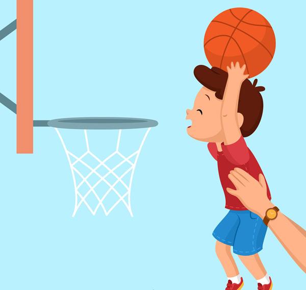 投篮的男孩