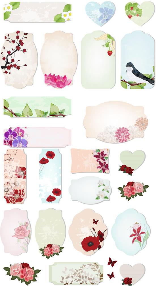 复古彩绘花卉标签