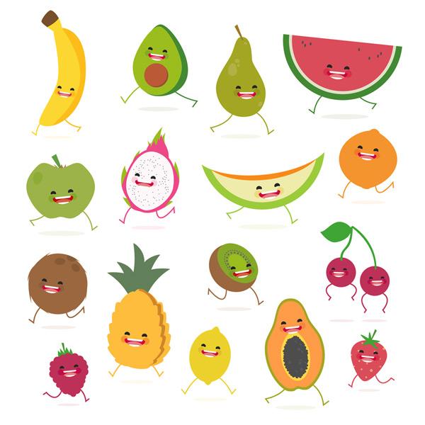 卡通奔跑水果