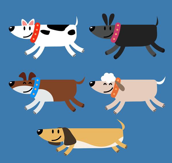 0 点 关键词: 5款创意奔跑宠物狗矢量素材,奔跑,宠物,狗,动物,矢量图