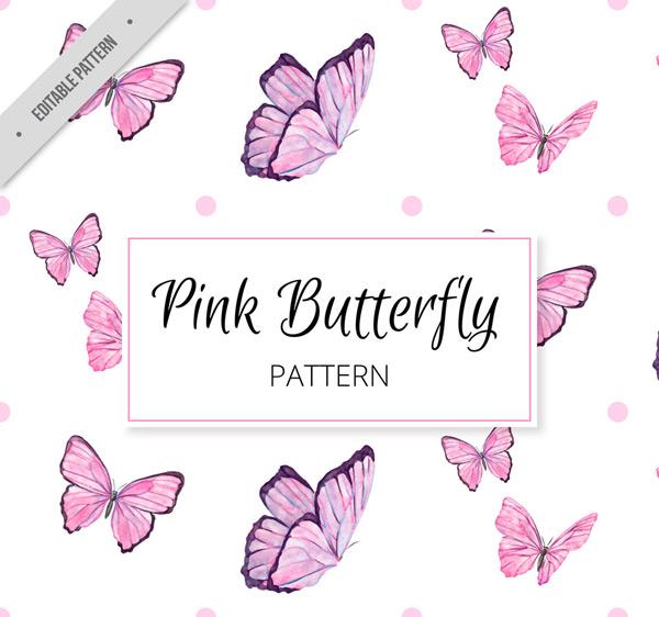粉色蝴蝶无缝背景