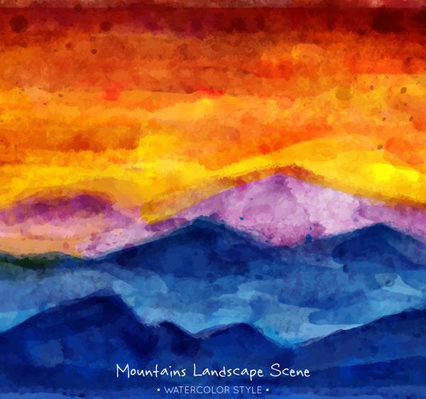 夕阳下的山脉