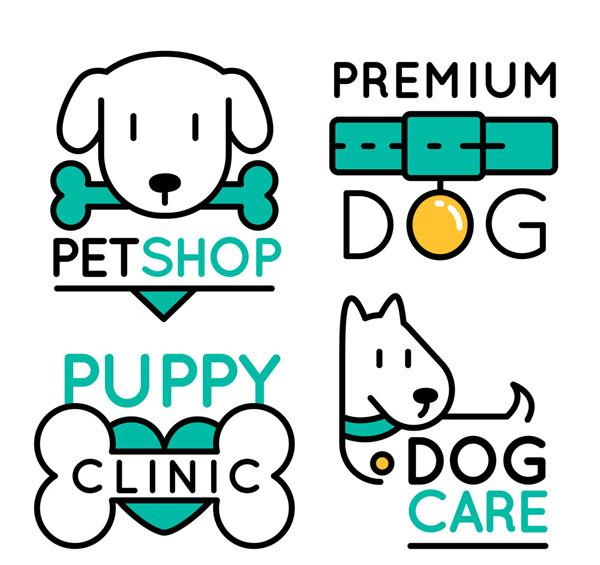 0 点 关键词: 4款可爱宠物狗标志矢量图,骨头,宠物店,宠物医院,宠物