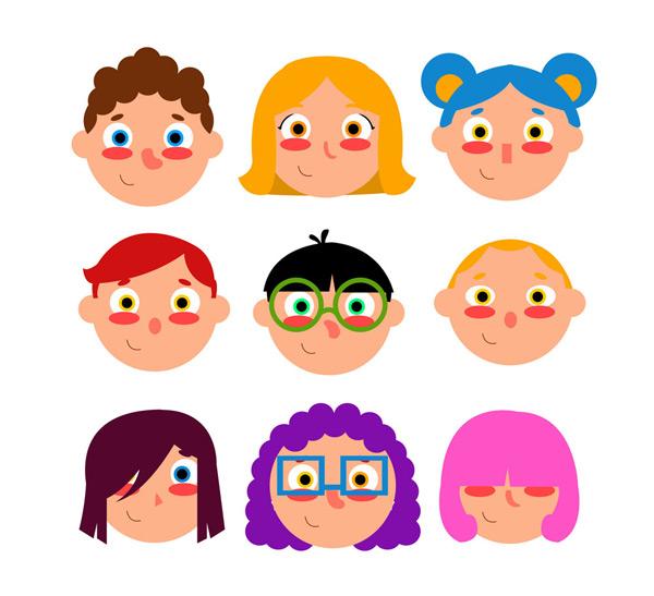 素材分类: 矢量儿童幼儿所需点数: 0 点 关键词: 9款可爱红脸蛋儿童