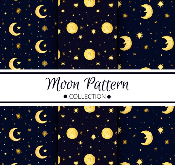 0 点 关键词: 3款创意手绘月亮无缝背景矢量素材,星星,天空,手绘