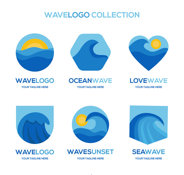 素材分类: 矢量logo图形所需点数: 0 点 关键词: 6款蓝色海浪标志
