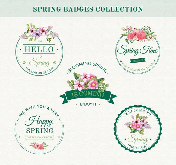 创意春季花卉徽章