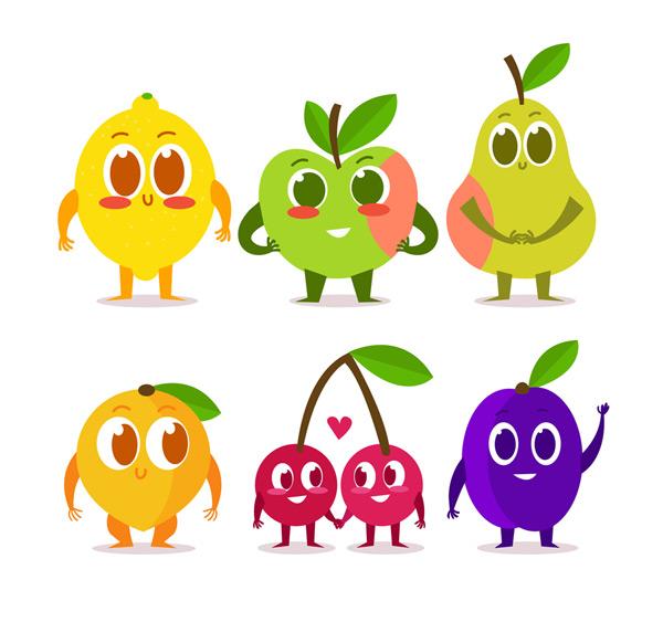 6款卡通大眼睛表情水果矢量素材,大眼睛,水果,表情,笑脸,梨,柠檬,苹果,芒果,车厘子,樱桃,李子,矢量图,AI格式