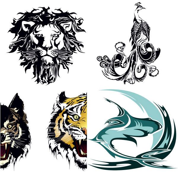 老虎可爱头像剪影