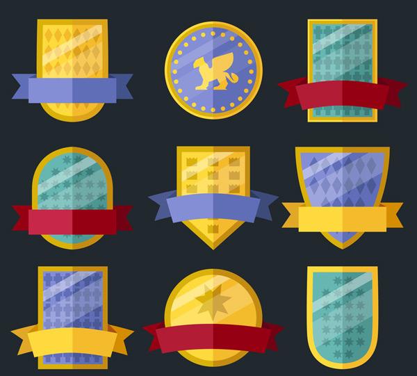 扁平化丝带盾牌