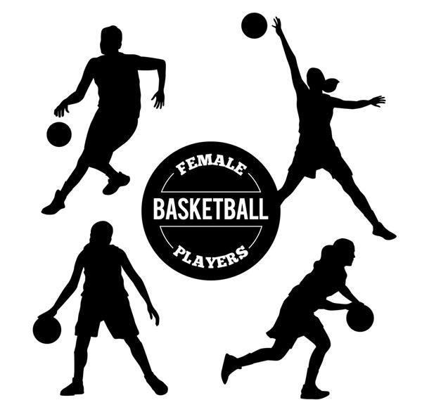 4款创意篮球女子剪影矢量素材,篮球,女子,人物,剪影,运动,矢量图,ai