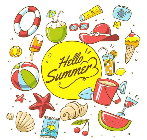 0 点 关键词: 21款彩色夏季沙滩度假元素矢量图,游泳圈,椰子,雪糕,球