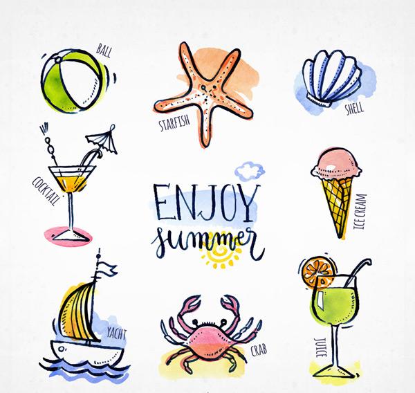 0 点 关键词: 8款手绘彩色夏季元素矢量图,球,海星,贝壳,鸡尾酒
