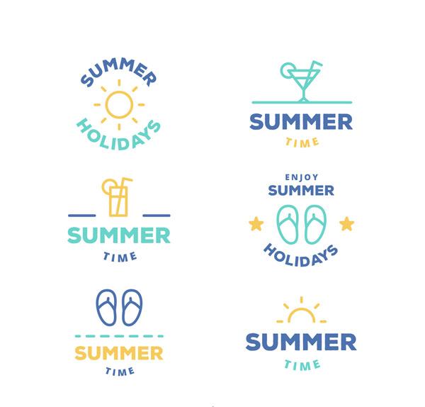 夏季度假标志矢量