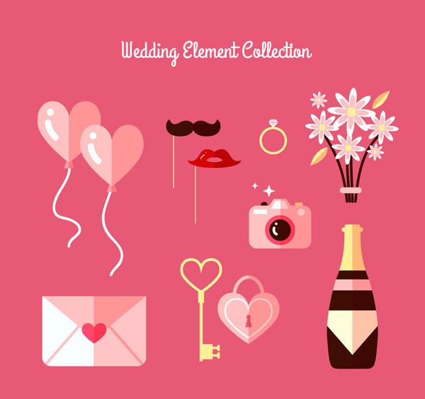 粉色婚礼元素