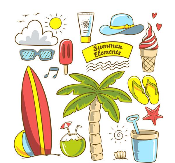 夏季沙滩度假元素
