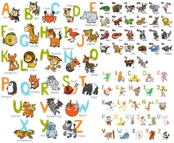 卡通英文字母表_素材中国sccnn.com图片