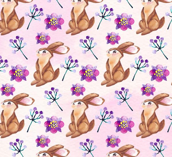 兔子和花卉背景