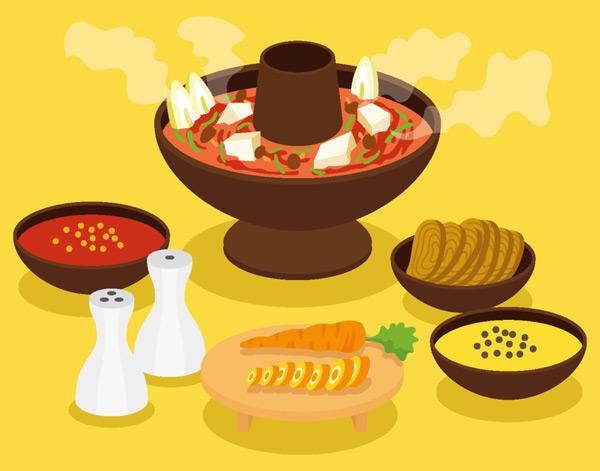 手绘,手绘插画,手绘食物,矢量素材,矢量食物,火锅,清酒,海鲜火锅,eps