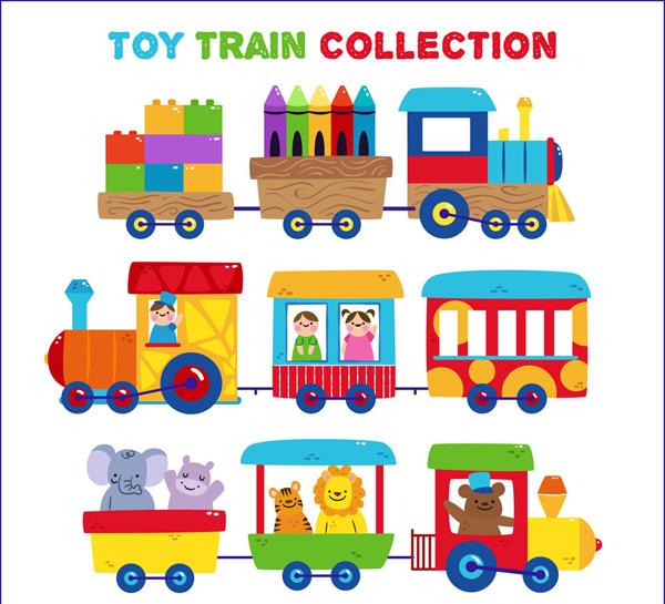 矢量卡通物品所需点数: 0 点 关键词: 3款可爱玩具火车矢量素材,积木