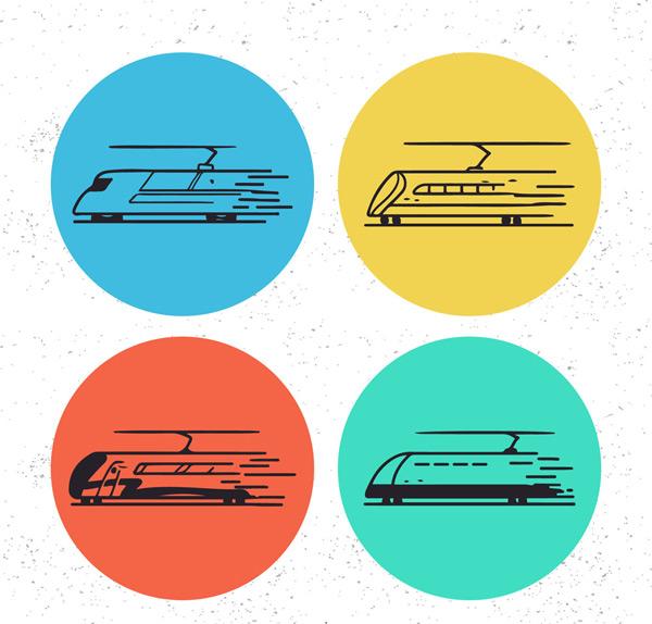 0 点 关键词: 4款手绘动车图标矢量素材,高铁,动车,图标,火车,矢量图