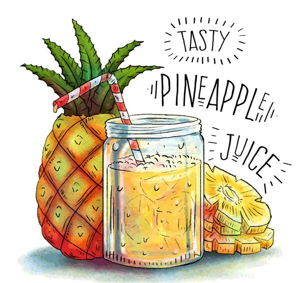 新鲜菠萝和菠萝汁
