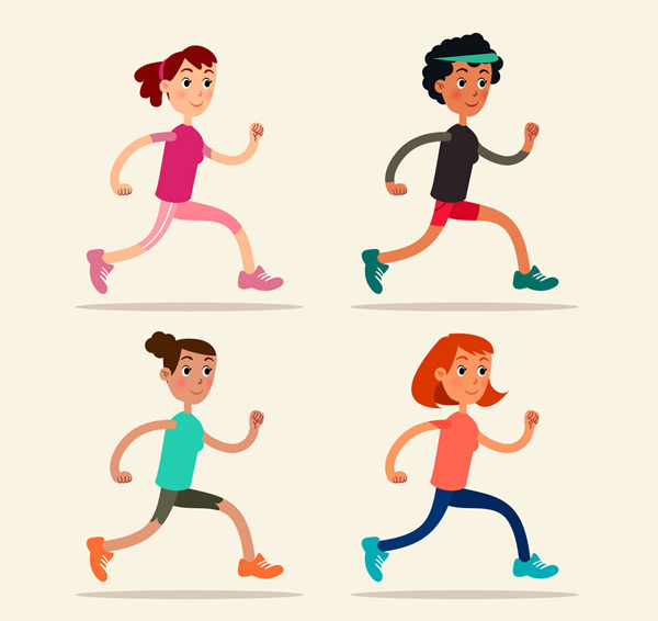 0 点 关键词: 4款卡通跑步女子矢量素材,跑步,女子,人物,矢量图,ai