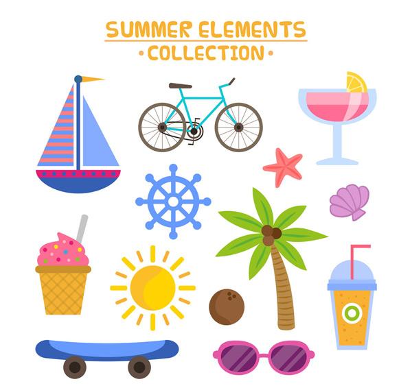 帆船,单车,鸡尾酒,海星,椰子树,船舵,雪糕,太阳,贝壳,太阳镜,滑板车