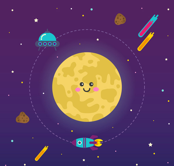 卡通矢量插画所需点数: 0 点 关键词: 可爱笑脸月亮和火箭矢量素材