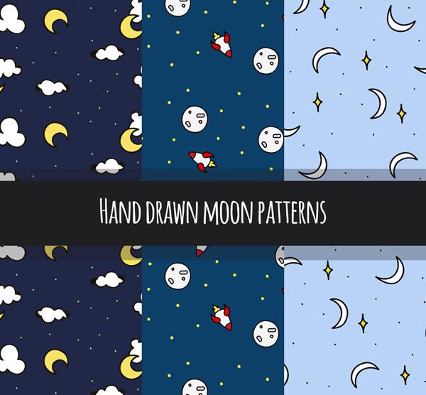 手绘月亮无缝背景