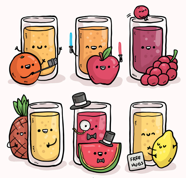 表情杯装果汁图片