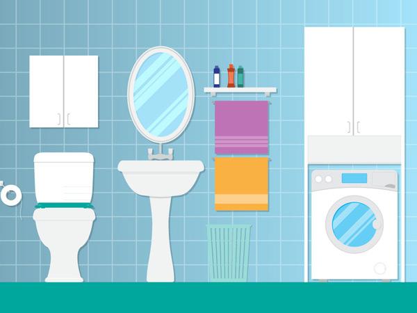 卫生纸,镜子,洗衣机,柜子,洗手池,垃圾桶,家居,卫生间,扁平化,矢量图