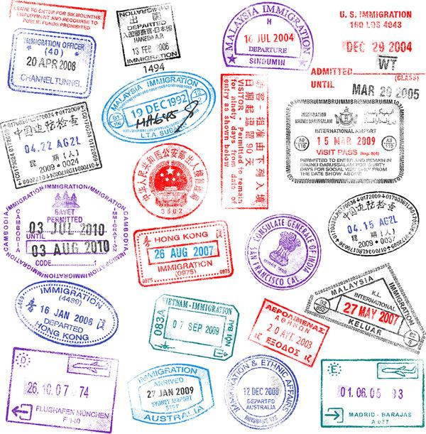 签证印章矢量