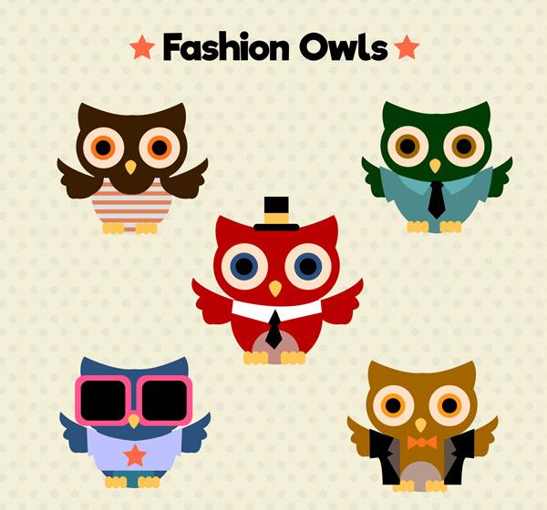 0 点 关键词: 5款创意时尚猫头鹰矢量素材,时尚,猫头鹰,动物,鸟,矢量