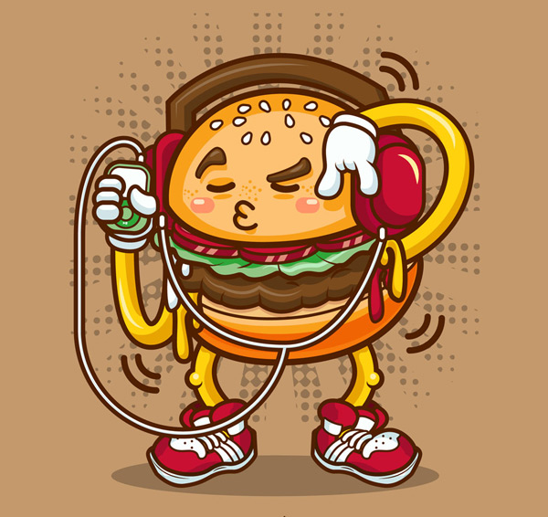 听音乐的汉堡包