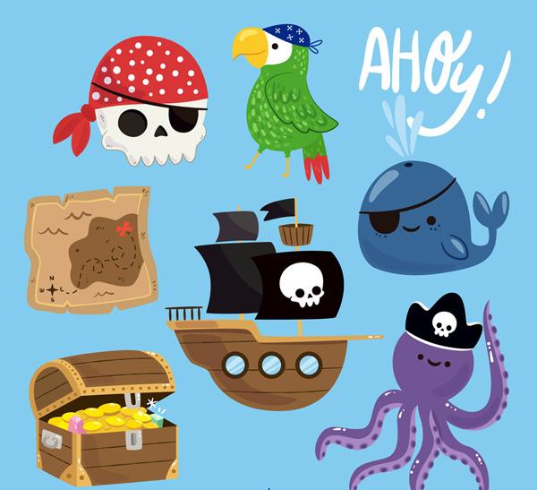 0点关键词:7款卡通海盗元素矢量素材骷髅鹦鹉鲸鱼地图海盗船