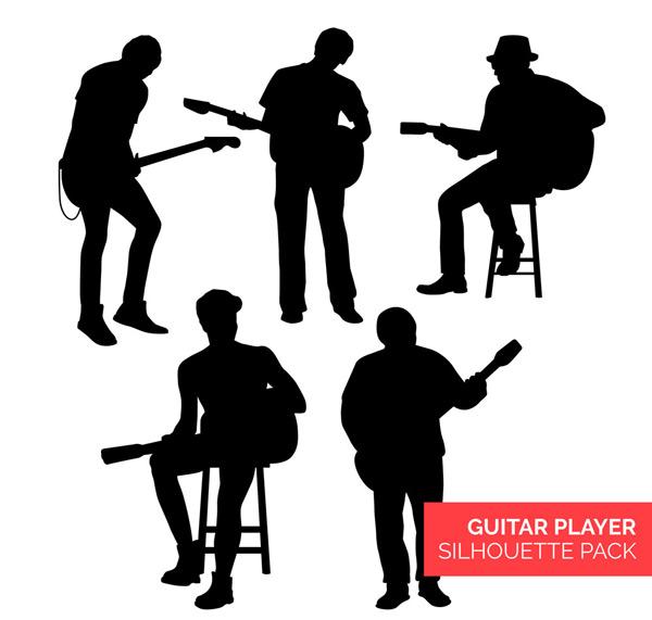 矢量职业人物所需点数: 0 点 关键词: 5个创意弹吉他的人物剪影矢量